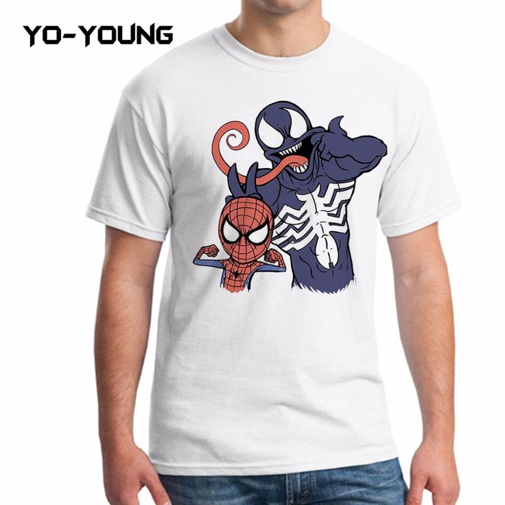 Yo-Young Men T Shirts Anime Spiderman Superheros Funny T shirts Digital Printed 100% 180g Combed Cotton Customized