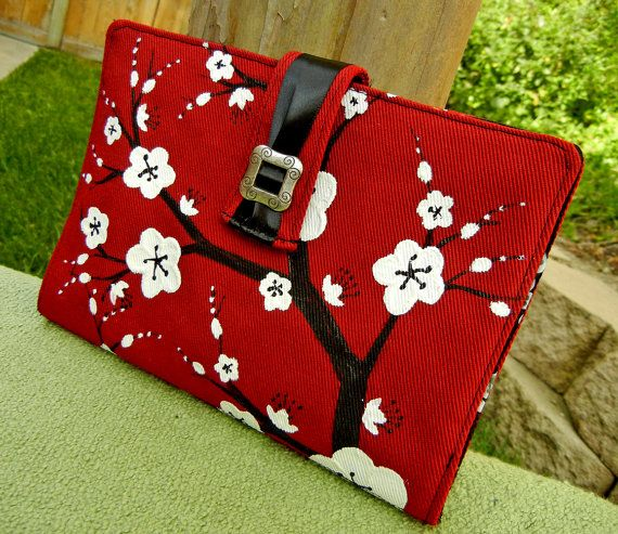 Hand Painted Book Style Padded Cover for Kindle or E Reader in Red with White Cherry Blossoms