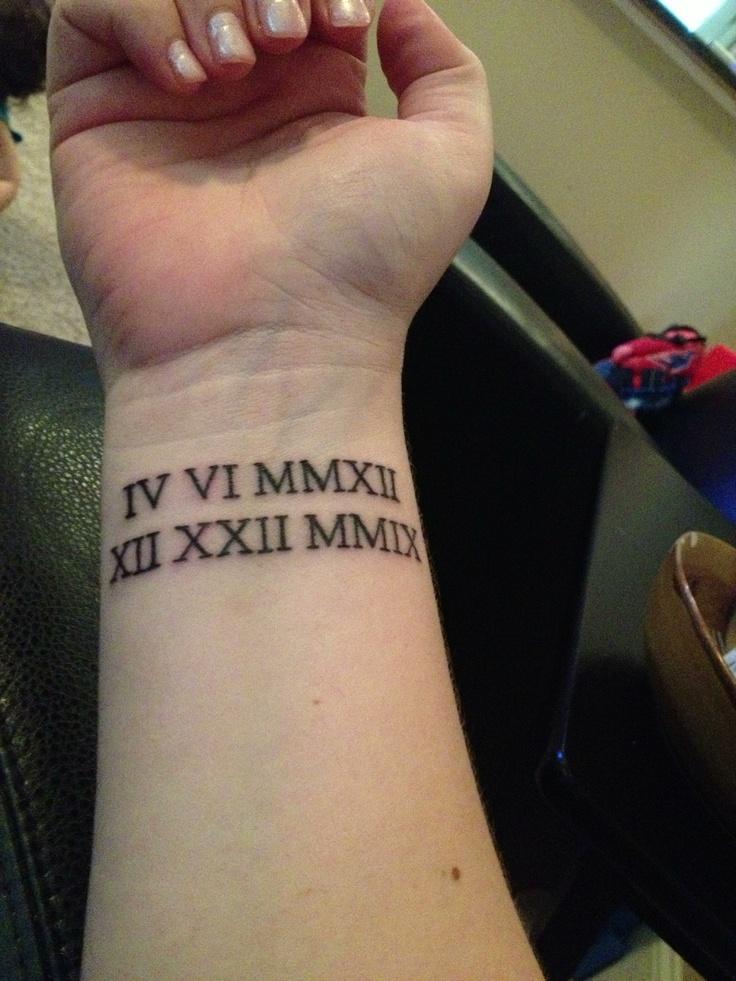 Roman numeral wrist tattoo of birthdays tattoo ideas for Birthday date tattoos