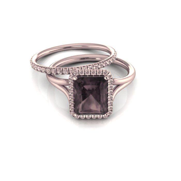 Emerald cut Smoky Quartz Engagement Ring with Black Diamonds Halo 14K Rose Gold
