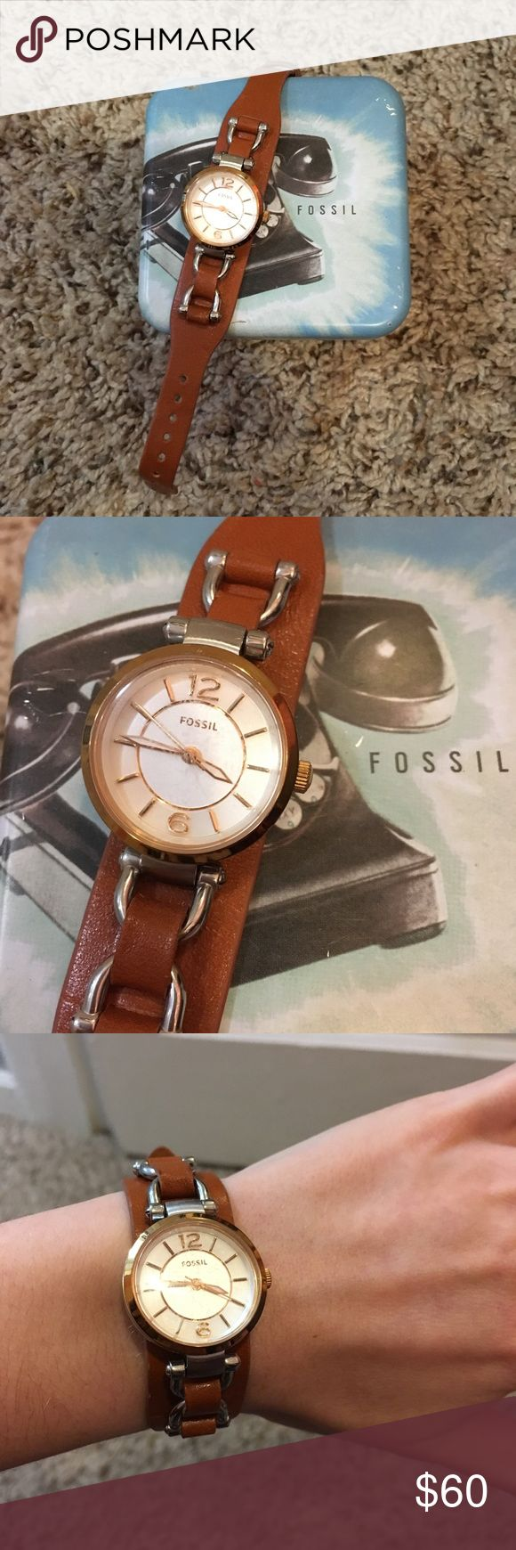 Fossil Leather Watch Beautiful watch, face is a little scratched but not very noticeable. Fossil Accessories Watches
