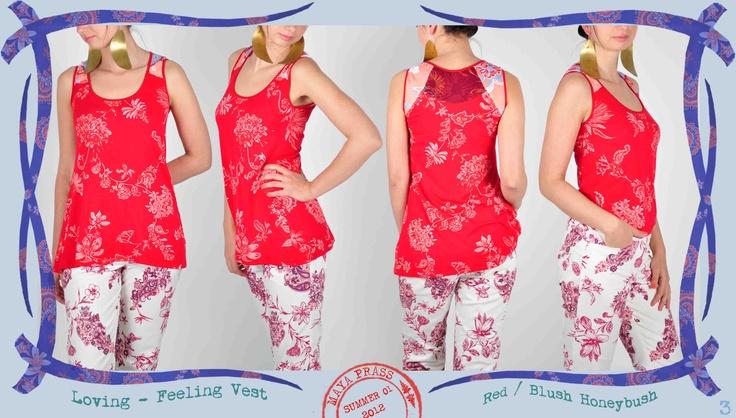 003 Loving Feeling vest in red Honeybush