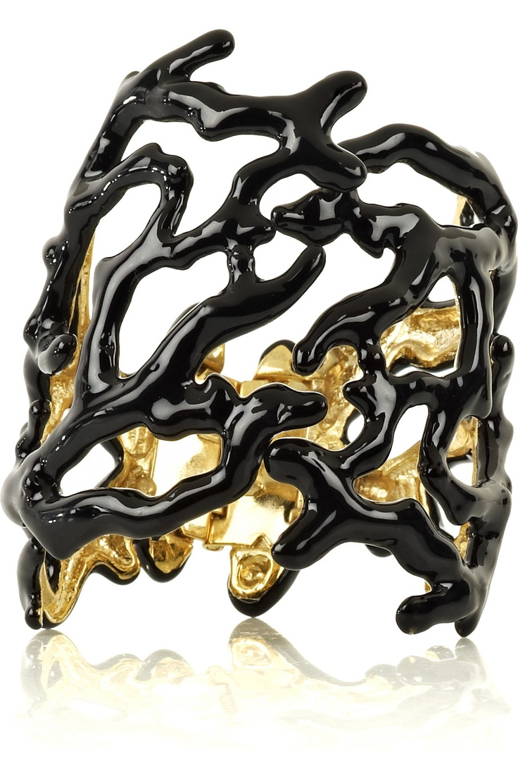 Kenneth Jay Lane Black Coral Cuff Black/coral