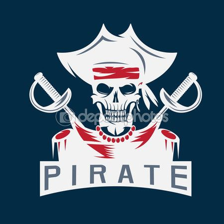 Капитан пиратский череп в шляпе с мечами Векторный дизайн шаблона — стоковая иллюстрация #115315884