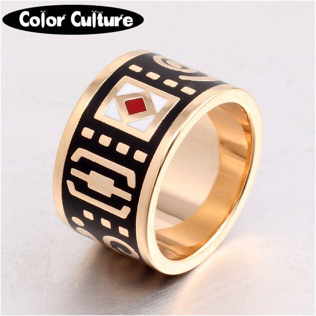 Новый Высокого класса Ретро Классический Нержавеющей Стали Большие Кольца Керамики Кольца для Женщин Черный Эмаль Кольцо Оптом
