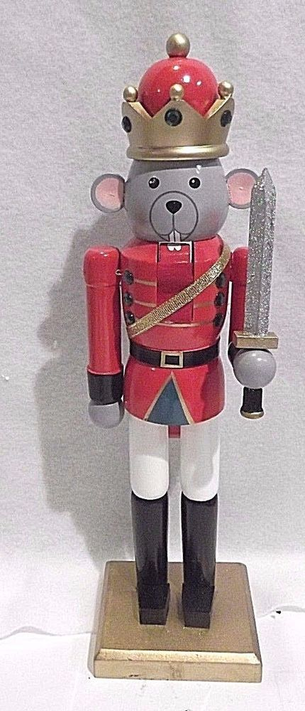 "CHRISTMAS WOODEN NUTCRACKER - 14""  THRESHOLD MOUSE KING WITH SWORD"