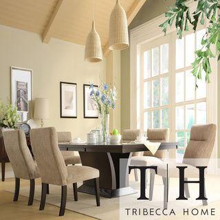 TRIBECCA HOME Charles Espresso 7 Piece Contemporary Dining Set