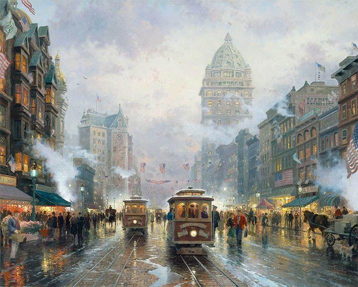 San Francisco Market Street by Thomas Kinkade