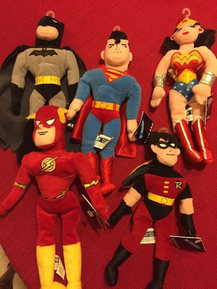 Warner Bros Plush Bean Bag Super Hero Lot Batman Superman