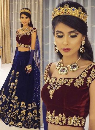 Navy Blue Embroidery Thread Work Velvet Party Wear Wedding A-Line Lehenga Choli http://www.angelnx.com/Lehenga-Choli/Designer-Lehenga-Choli