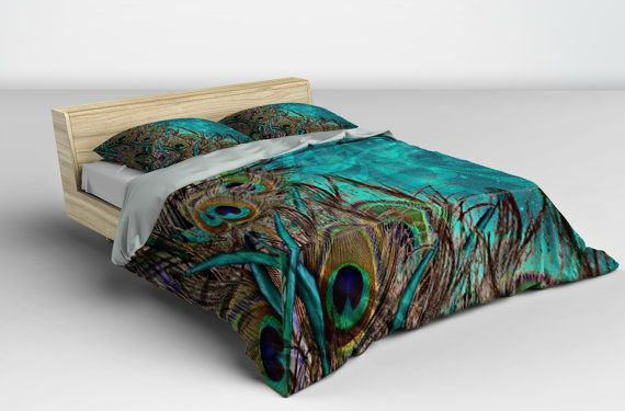 Luxe Bedding Teal Peacock Duvet Cover Set Peacock by FolkandFunky