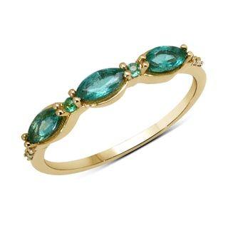 Malaika 14k Yellow Gold 2/5ct TGW Zambian Emerald and White Diamond Ring | Overstock.com Shopping - The Best Deals on Gemstone Rings