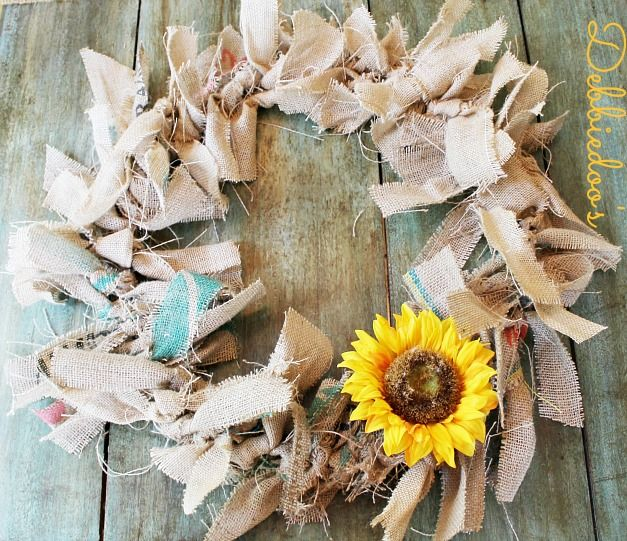 Making a rag wreath. I love this. But do I make one with my plain burlap and change the adornments according to the season, or use my adorable spring burlap with blue, pink and purple polka dots for a fun spring wreath?