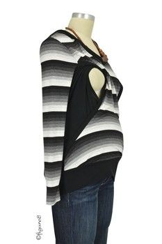 Classic Stripes Nursing Hoodie in Black & White Stripes by Olian with free shipping $59