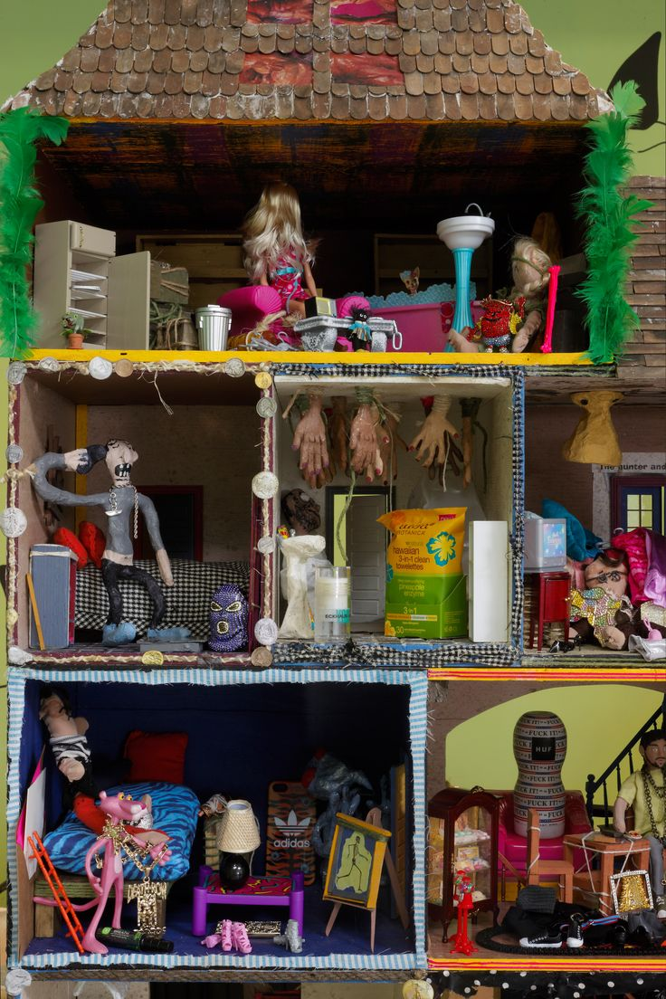 Bjarne Melgaard Untitled (Doll House) 2013 Plywood, wood, steel, tile, acrylic, feathers, yarn, tongue depressors, paper mache, miniature doll house furniture and objects, LED lights, strobe light, Super Sculpey® polymer clay, collage, costume jewelry, photocopies, rope and glue 128 x 92 x 38 inches