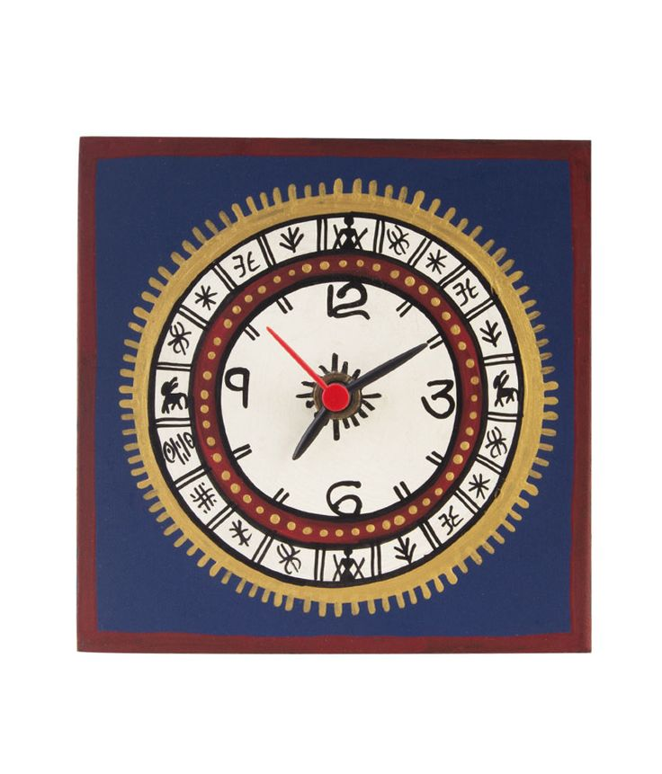 This blue handprinted warli table clock will definitely take you back to the ethnic era. The edges and middle of the clock is careful painted with multiple colors to give a class and sheen. This table clock will definitely accentuaute the beauty of your table. This clock can be placed at an angle on table as it comes with a stand.