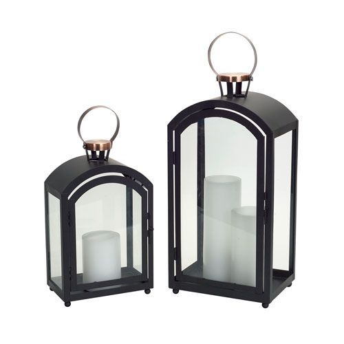 Black and Copper Lantern, Set of Two