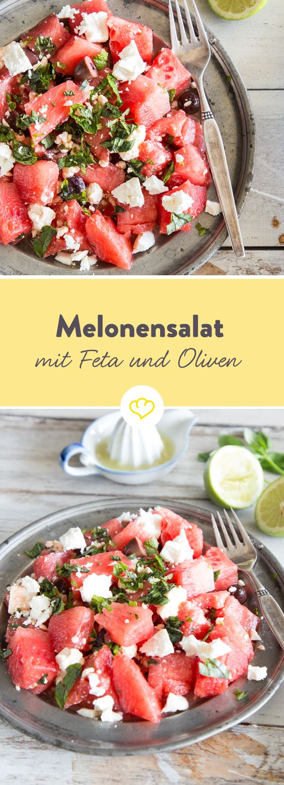 Summery melon salad with feta and olives