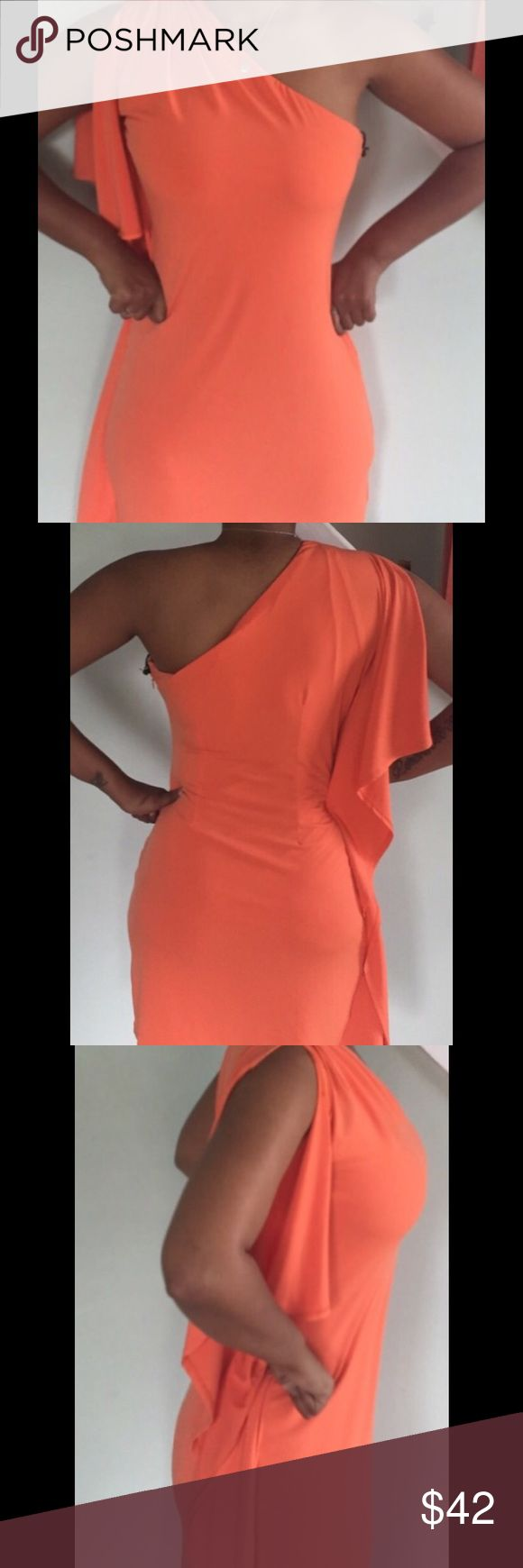 GORGEOUS Calvin Klein Dress! Never Worn Gorgeous Sexy one shoulder bright orange dress! If you are looking to make a statement this summer this is the dress for you! It's beautiful never worn with Tags still on! Model in picture is 5'4': Material polyester. Calvin Klein Collection Dresses One Shoulder