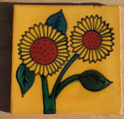 """10~Talavera Mexican tile pottery hand painted 4"""" Gold Yellow double Sunflower"""