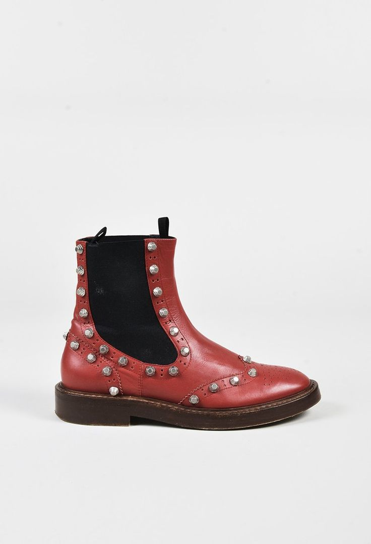 Balenciaga Red Black & Brown Leather Studded Brogue Chelsea Boots - 3