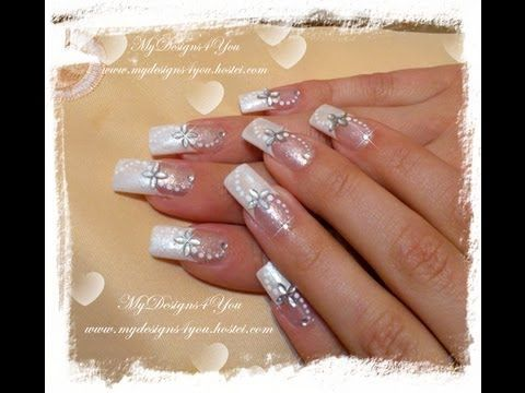 You will need white and natural glitter polishes, white paint, petal shape and round 2mm silver rhinestones. Wedding nails!  www.mydesigns4you.hostei.com  ...