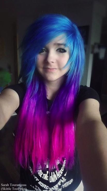 Blue purple pink galaxy ombre scene hair
