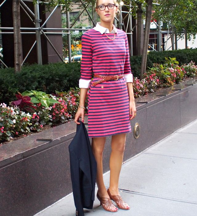 red and navy blue striped stripes lilly pulitzer charlene dress gold buttons gold priveleged chain link necklace j. crew jcrew navy schoolboy blazer white brooks brothers non-iron fitted button down oxford shirt brown corso como strappy woven sandals mid-heel ralph lauren braid braided belt blonde hair bun oliver peoples glasses back to school teacher fall fashion 2013 layer layering transition work office new york city new york fashion week nyfw street fashion style