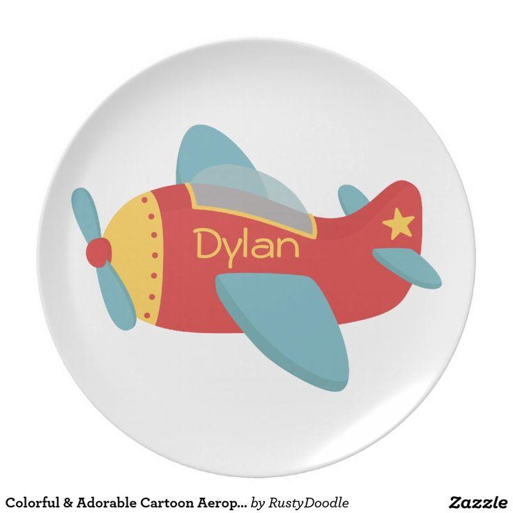 Avión colorido y adorable del dibujo animado plato