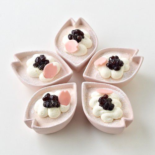 cherry mousse with azuki beans