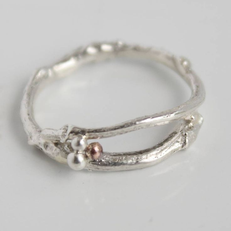 silver woodland twig band ring by caroline brook | notonthehighstreet.com
