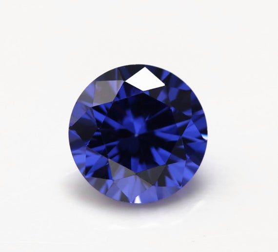 Lab Created Sapphire Blue Round Faceted Loose Gemstones Fine AAA Quality