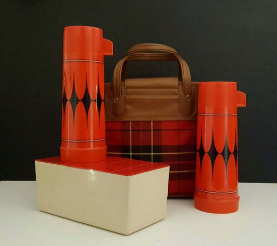 Vintage Tartan Plaid Thermoses Set with 2 Red Aladdin Thermos Diamond Pattern Food Container and Tote Bag Picnic Lunch Set Camping Glamping