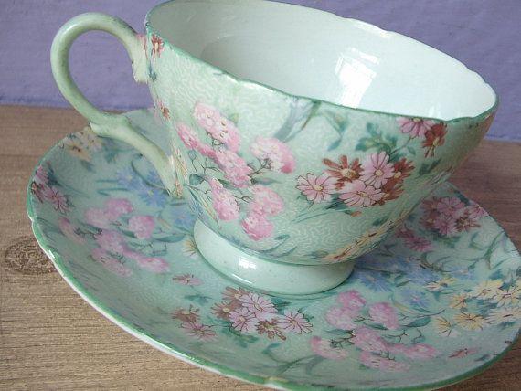 Antique Shelley tea cup and saucer set, vintage English tea cup, green bone china tea set, pink summer daisies