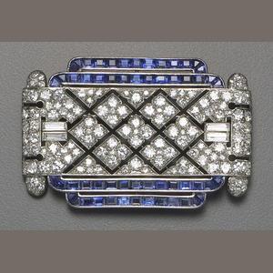 An art deco diamond, sapphire and platinum brooch, Lacloche Frères, circa 1925