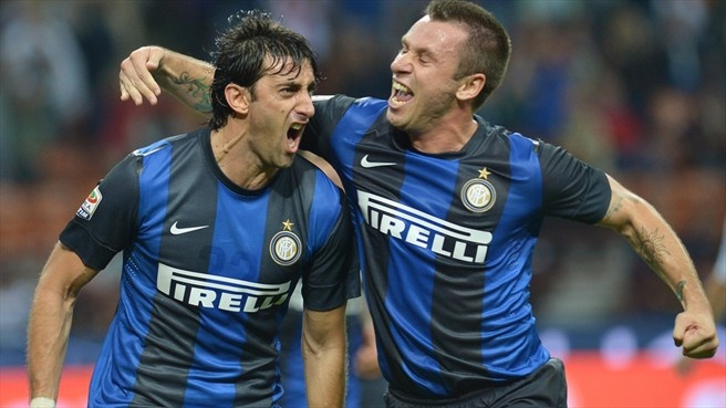 Diego #Milito (FC Internazionale Milano)  Diego Milito (L) of FC Internazionale Milano celebrates with Antonio Cassano after scoring the opening goal during their Italian Serie A match against against ACF Fiorentina