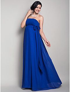 Floor-length Chiffon Bridesmaid Dress - Royal Blue Maternity Sheath/Column Strapless