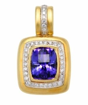 A satin finish is fine, brushed-look type of texture applied to the surface of jewelry. - See more at: http://www.callagold.com/definition/jewelry-definition-satin-finish/#sthash.TTZvtHt0.dpufSatin Finish Calla Gold Jewelry, Tanzanite and Diamond Enhancer Pendant with Satin Finish