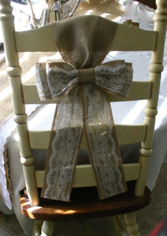 Burlap and lace wedding bows by Bannerbanquet on Etsy, $15.00