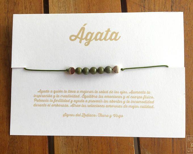 Collar-pulsera de la amistad de ágata verde con tarjeta