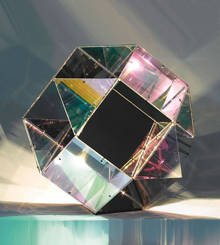 OLAFUR ELIASSON | Cubic Lamp, 2005 | color effect filter glass, stainless steel, mirror, and halogen bulb