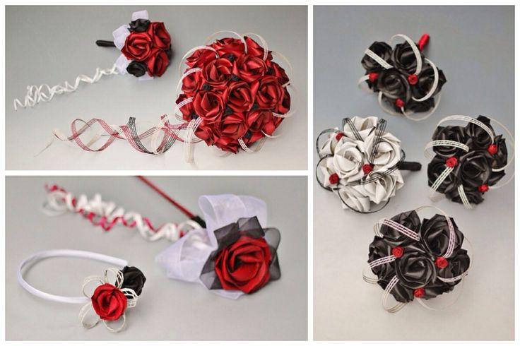 Red,black and white flax bouquets for the bridal party.                                www.flaxation.co.nz