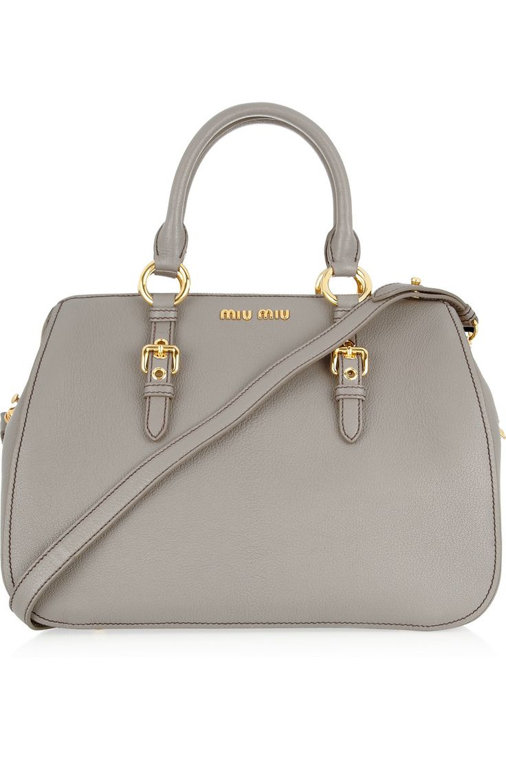 textured leather tote ++ miu miu