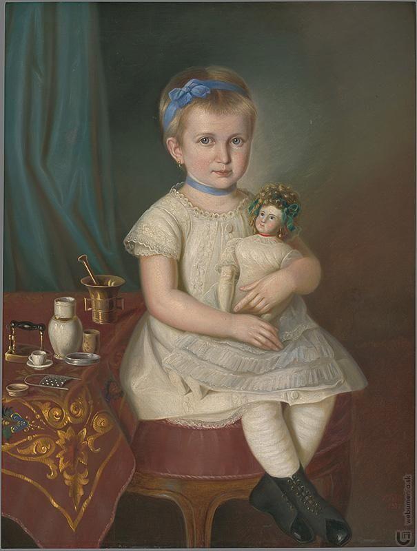 Peter Michal Bohúň: Podobizeň Marienky Medveckej ako štyri - päť ročnej:1877