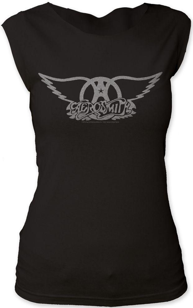 Aerosmith Logo Women's Black Sleeveless T-shirt | Rocker Rags