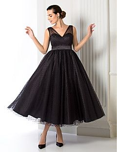 TS+Couture®+Formal+Evening+/+Company+Party+Dress+-+1950s+Plus+Size+/+Petite+A-line+/+Princess+V-neck+Tea-length+Tulle+with+Sash+/+Ribbon+–+USD+$+69.99