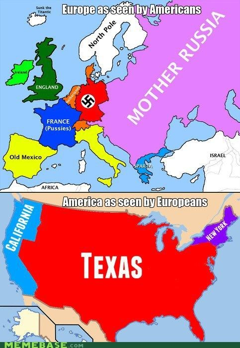Haha. International stereotypes-Europe and the U.S..This is probably so true. I don't think of Germanic countries as Nazi land though, that's a little dated, people ! My French teacher told us that French people at least think we all wear cowboy hats and live on farms.