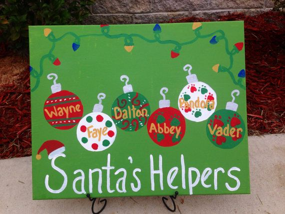 This listing is for one hand-painted and personalized Christmas canvas featuring fun ornaments and Christmas lights. The canvas measures 11x14.