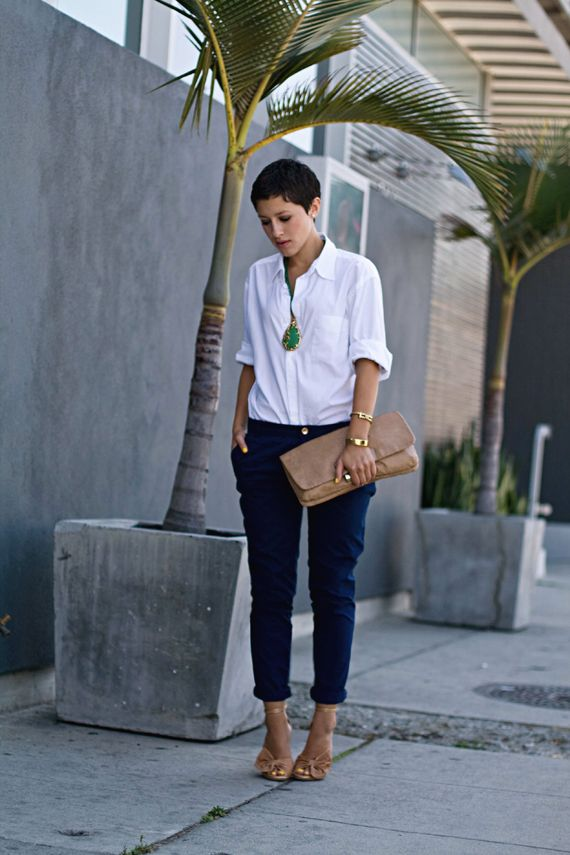 Just a White Shirt navy blue trousers / pants white blouse gold statement necklace gold ...
