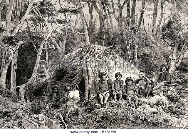 The Fuegians and their wigwams on Tierra del Fuego From the book Journal of Researches by Charles Darwin - Stock Image